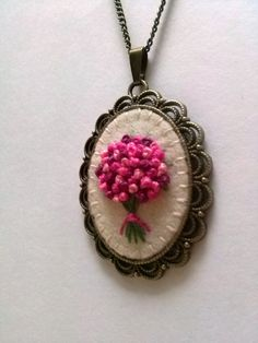Pink Embroidered Bouquet Pendant Necklace / Floral by DusiCrafts