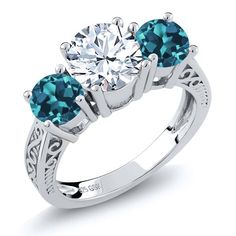 2.40 Ct Round White and London Blue Topaz 925 Sterling Silver 3-Stone Ring