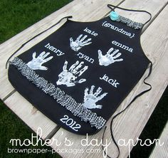 Handprint Apron - a great gift for mom or grandma (a grownup would need to help)
