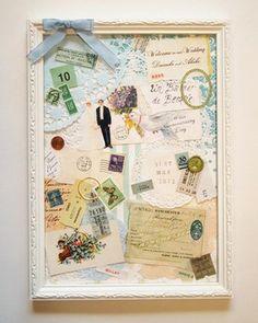 wedding collage welcome board  アンティークの紙ものを重ねて制作したウェルカムボード