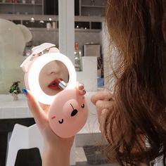 /… New Beauty Mirror Pocket Fan USB Charging Mini Handheld Fan led Light Portable Small Fan Round Eye Piglet
