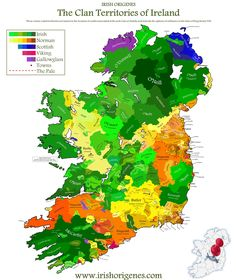 Clan Map of Ireland | Irish Origenes: Use Family Tree DNA to Discover Your Genetic Origins | Clans of Ireland | Irish Surnames Map