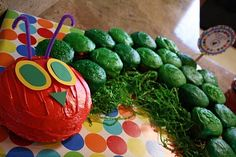 "Very Hungry Caterpillar cake! The head is the ""smash cake!"""