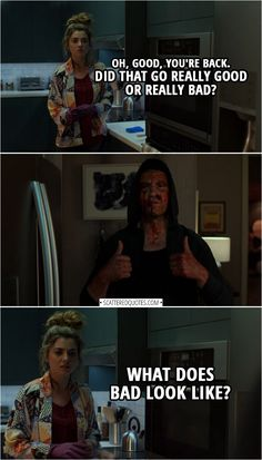 Amy Bendix (to Frank): Oh, good, you're back. Did that go really good or really bad? (Frank gives the thumbs up) Well, what does bad look like? From The Punisher – Season 2 Episode 'One-Eyed Jacks' The Punisher Tv Show, The Punisher Quotes, Punisher Netflix, Daredevil Punisher, Ms Marvel, Captain Marvel, Marvel Comics, Frank Castle Punisher, Defenders Marvel