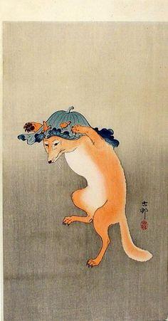 Ohara Koson (Japanese), The Fox Dance, woodblock print, c. 1910.