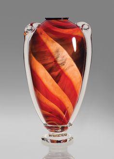 Red Shoulder Vase: Mark Rosenbaum: Art Glass Vase   Artful Home