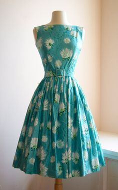 CLV: Blue, white and green floral 1950's vintage tea dress #blue #white #green #floral #vintage #1950s #tea #dress #clothing
