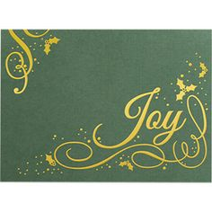 FREE personalization—add your logo or business name Gold foil design on green linen paper stock (inside is green) Imprint color: Gold Gold foil-lined envelopes included Choose from 20 stock sentiments Made in the USA