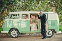 How stunning is this green vw splitscreen campervan? Excellent choice by this bride & groom