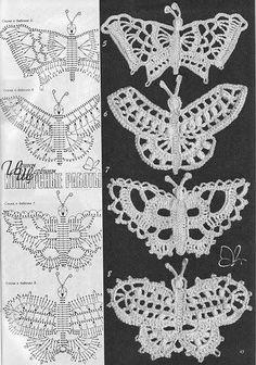 Delicadezas en crochet Gabriela: Plantilla de accesorios mariposas