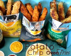 Potato Chip Oven Fries.....dip potatoes in buttermilk-flour mixture, then coat with crushed potato chips and bake.