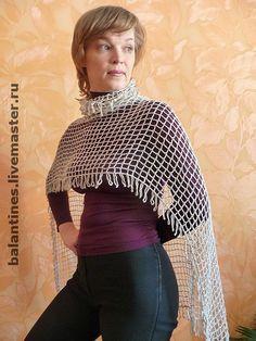 Купить Шарф - рукав вязаный - накидка крючком лён - Вязание крючком, летний шарф