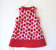 Strawberry Patch Girls Jumper Dress, Girls Dress, Strawberry Print, Polka Dot Trim, Toddler Dress. $38.00, via Etsy. #pinhonest