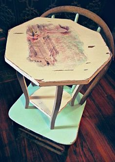 distressed white plant stand
