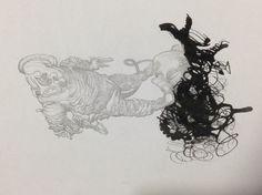 Título: Encuentro Autor: Ángel Aguilar Técnica: Tinta China y lápiz