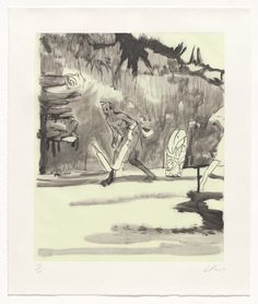 """Peter Doig. Untitled, Small Cricket Player. 2013. Etching with aquatint, and screenprint. plate: 17 1/2 x 14 1/2"""" (44.5 x 36.8 cm); sheet: 21 15/16 x 18 3/8"""" (55.7 x 46.7 cm). Committee on Prints and Illustrated Books Fund. 49.2014.8. © 2016 Peter Doig. Untitled. Drawings and Prints."""