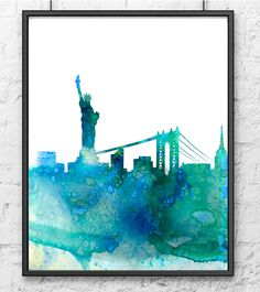 New York Print  Watercolor Skyline Painting  Wall by Thenobleowl