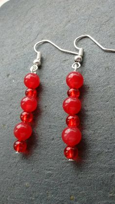 Bright Red Earrings, Vibrant Red Earrings, Cherry Red Earrings, Red Bead Earrings, Bohemian Earrings, Long Bead Earrings, Anniversary Gift by TwiggyPeasticks on Etsy