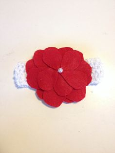Infant Toddler Girls  Red Flower Crochet Headband Headpiece Hairbow Hair Accessories on Etsy, $7.00