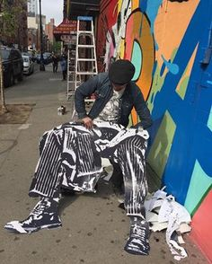 """Nick Walker & CrashOne, """"New York State of Mind"""" at the St_ArtNow wall on Ludlow & Delancey Street on the Lower East Side, NYC, 2017 Nick Walker, Lower East Side, The St, Nyc, New York, Street, Wall, Pants, Fashion"""