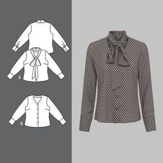 Blouse with a tie band Sewing Patterns, Trousers, Band, Blouse, Coat, How To Make, Jackets, Clothes, Craft Materials