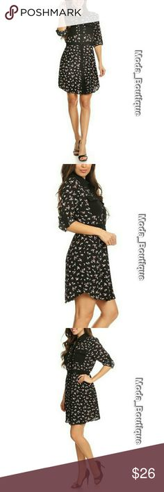 "Super Cute Floral Dress Classic shirtwaist, this dress a tailored look and comfortable fit. Floral print, 3/4 sleeve short dress in a relaxed style with a button down closure and button tabs. SIZE CHART:  S (4-6): Hip 36-37"" Bust 33.5-34.5"" Waist 25-26"" M (8-10): Hip 38-39"" Bust 35.5-36.5"" Waist 27-28""  L (10-12): Hip 39-40.5"" Bust 36.5-38"" Waist 28-29.5"" Dresses"