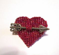 Beaded Heart with Arrow Brooch by BeadedNature on Etsy