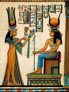Papiro egizio raffigurante la regina Nefertari fare un'offerta a Iside Archivio Fotografico - 13177082