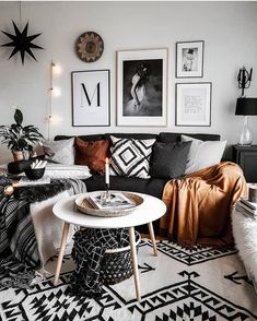 31 Charming Bohemian Living Room Decor Ideas ⋆ All About Home Decor Boho Living Room, Living Spaces, Cozy Living, Living Room Decor Hacks, Dark Grey Sofa Living Room Ideas, Gallery Wall Living Room Couch, Living Room Decor Frames, Living Room White Walls, Living Room Wall Art