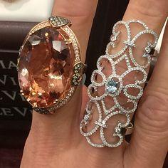 Le Vian Peach Morganite ring  and diamond ring centered with a sea blue Aquamarine