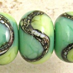Green Lampwork Glass Bead Handmade Set of 6 Organic Webbed Small 11x7mm Little Sirona on Etsy, $14.50