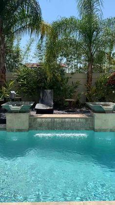 Tropical Pool Landscaping, Small Backyard Pools, Backyard Patio Designs, Swimming Pools Backyard, Swimming Pool Designs, Outdoor Pool, Small Pool Design, Pool Remodel, Pool Waterfall