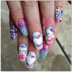 Hello kitty colorful coffin ballerina 3d art nails