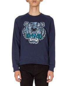 KENZO Python-Print Tiger Logo Sweatshirt, Navy. #kenzo #cloth #