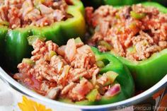 Clean Eating Stuffed Bell Peppers. I don't like the bitterness of green bell peppers. I used red, yellow, and orange at dinner for a burst of color. The family enjoyed, even the 8 year old.