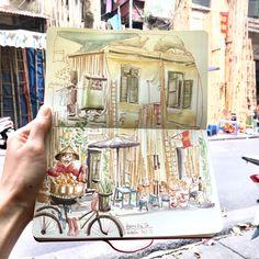 Hanoi, Vietnam Hanoi Vietnam, Sketches, Urban, Painting, Art, Drawings, Art Background, Painting Art, Kunst