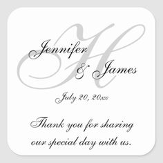 Monogram H Wedding Thank You Labels Stickers Thank You Labels, Thank You Messages, Thank You Stickers, Modern Wedding Favors, Wedding Favor Labels, Party Wedding, Elegant Wedding, Wedding Ideas, Wedding Invitations
