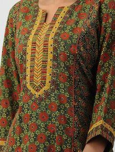 Green Panelled Ajrakh-printed Cotton Kurta Chudidhar Neck Designs, Neck Designs For Suits, Sleeves Designs For Dresses, Neckline Designs, Dress Neck Designs, Churidhar Designs, Salwar Neck Patterns, Salwar Neck Designs, Kurta Neck Design