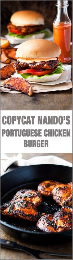 Portuguese Chicken Burger (Nando's Copycat) - my copycat of the famous Nando's Portuguese Chicken Burgers with Peri Peri Sauce