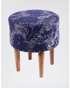 Tabouret bois rond tissu imprimé bleu