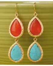 Spring color: double teardrop earrings in ocean and coral {Such cute, affordable items. I want to buy this whole store!}