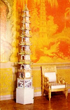 Interior of The Royal Pavilion, Brighton, East Sussex: 9 storey porcelain pagodas by the fireplace Marquis, Royal Pavilion, Small Fireplace, Chinoiserie Chic, Chinoiserie Wallpaper, Yellow Interior, Asian Decor, Mellow Yellow, Color Yellow