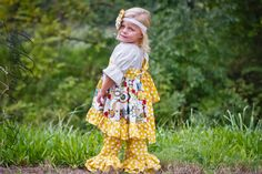 Fall Collection.. Frills N FluffYellow Red Black Floral Twirl Dress and Mustard Dots  Double Ruffle Pants.. size 6m-6Y on Etsy, $65.00