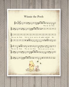 Winnie the Pooh Pooh Sheet Music Decorative by CreativeArtandInk