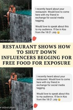 """You've probably already heard about the influencers who expect businesses to give them free stuff in exchange for """"exposure"""". Greek Restaurants, Instagram Influencer, Moral Stories, Short Stories, Free Food, Spotlight Stories, Laughing Jokes, Doll Food, Social Media"""