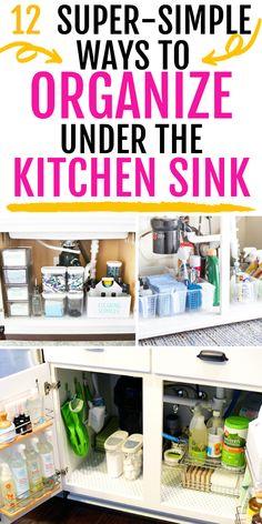 Under Kitchen Sink Organization, Under Sink Storage, Kitchen Sink Cleaning, Organize Under Sink, Extra Storage, Kitchen Hacks, Water Storage, Kitchen Storage, Cleaning Supply Storage