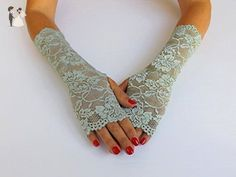 Mint green elastic floral lace gloves. Fingerless mittens. Bridal gloves. Wedding gloves. Mint green, Ivory, Midnight black, Gold, White. - Bridal gloves (*Amazon Partner-Link)