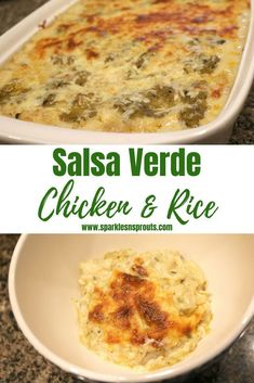 Salsa Verde Chicken & Rice is the perfect weeknight dinner.  You can put together in no time and everyone is sure to LOVE it!!  #chicken #casserole #rice #salsaverde #dinner #sparklesnsprouts