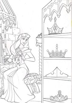Barbie Coloring Pages, Disney Princess Coloring Pages, Disney Princess Colors, Disney Colors, Cartoon Coloring Pages, Coloring Book Pages, Colorful Drawings, Colorful Pictures, Sleeping Beauty Coloring Pages