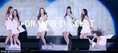 Members of K-Pop group GFriend were seen falling on stage during their performance at the 2015 Hyundai eco-driving concert.